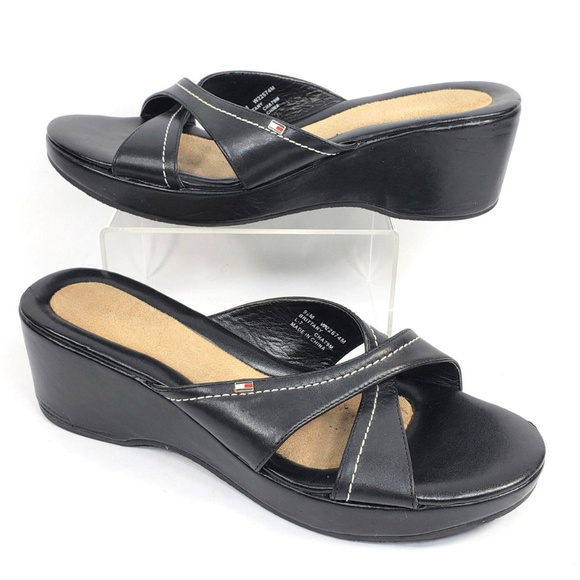 d4cfc71ae0f Tommy Hilfiger Shoes | Womens Strappy Slides Mules Black | Poshmark